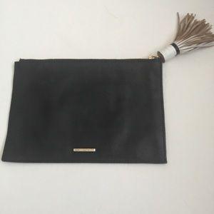 Rebecca Minkoff Black Clutch w/white tassel zipper